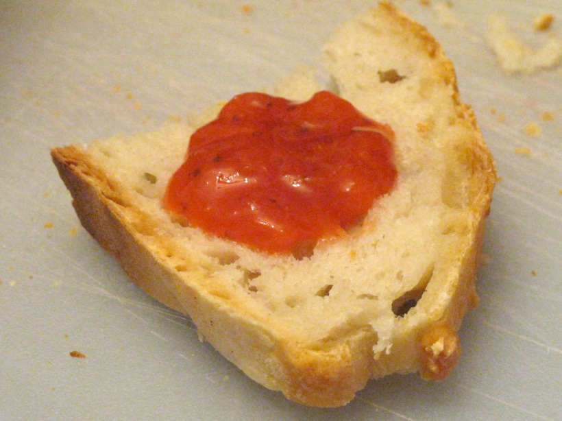 Warm jam on homemade bread - serious yum!