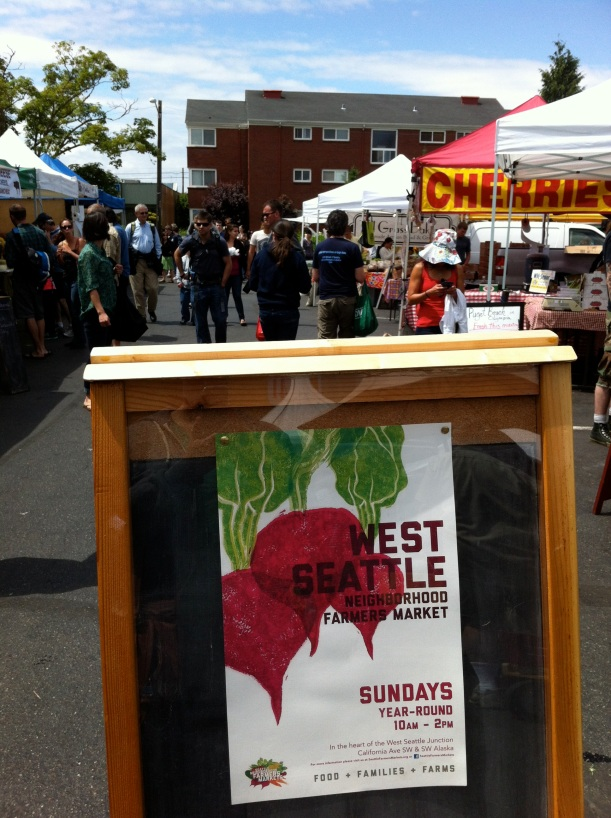 West Seattle farmer's market - I go to this one on Sundays and the Columbia City one on Wednesdays.