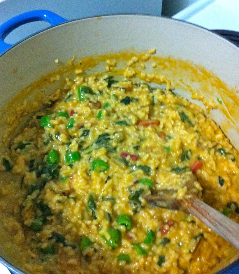 Baked risotto with chard and peas. Also tasty with roasted asparagus!