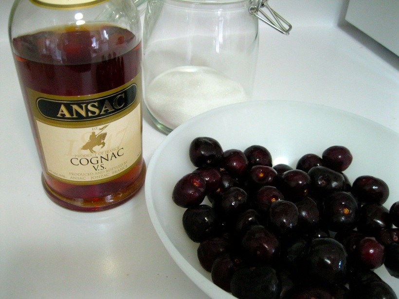 All recipes for brandied cherries will include sugar, brandy, and cherries.