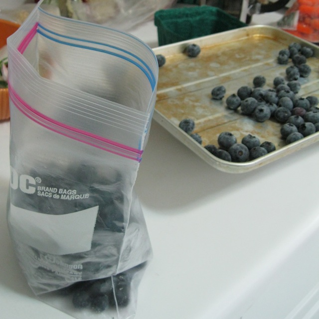 Frozen berries go straight into the freezer bag.