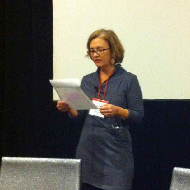 Kim O'Donnel reading to us at the start of her session. She read from literature about food and eating.