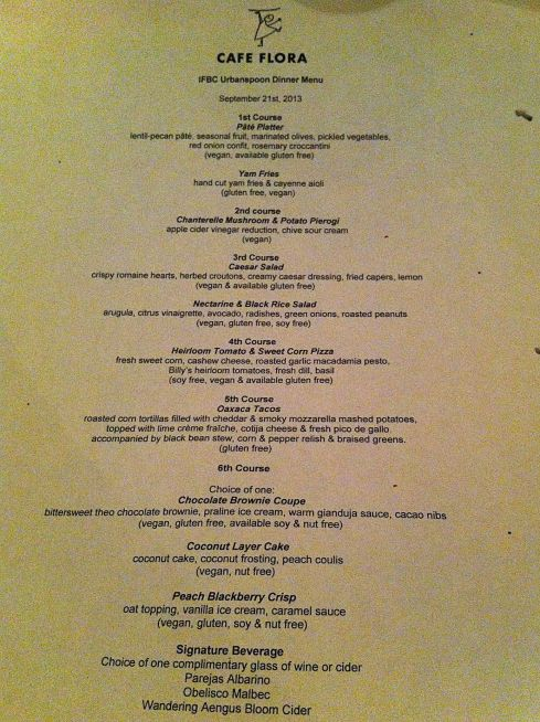 Our menu for the evening.