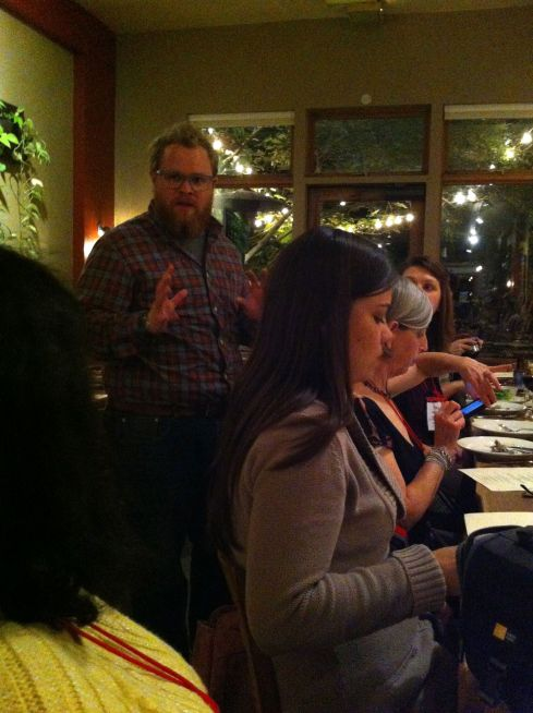 Nat Stratton-Clark, owner, telling us about Cafe Flora's history and mission.