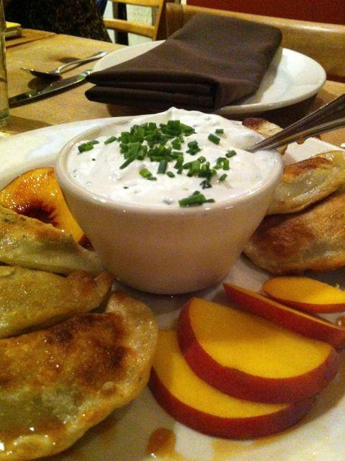 Chanterelle mushroom and potato pierogi.