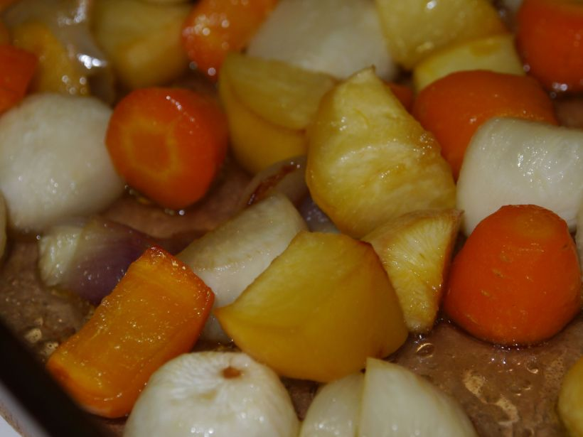 Honey roasted root vegetables - everything but the oil and salt is from a farmer's market (even the honey, which we bought at a farm stand in Stehekin).