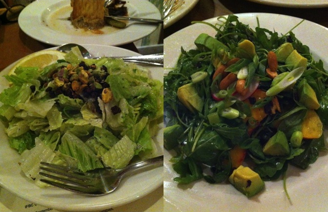 Two salads - a vegan Ceasar with fried capers (brilliant!) and the nectarine and black rice salad. SO delicious!