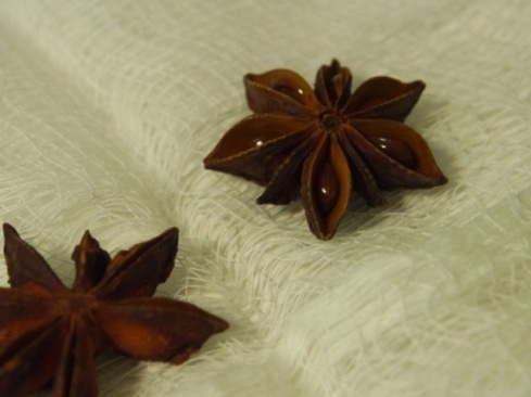 Star anise in cheese cloth. Next I rolled it up, tied it, and smashed it. That's pretty fun.
