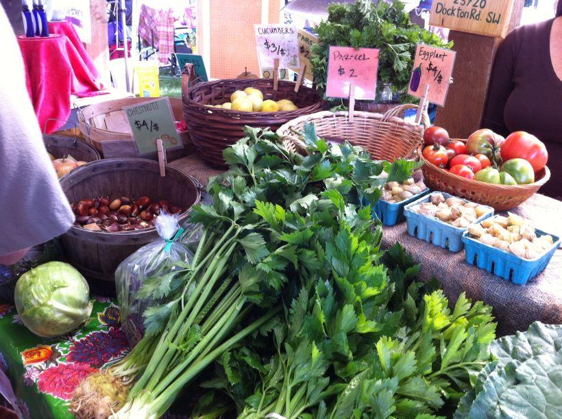 Beautiful veggies at the Vashon Farmer's Market.