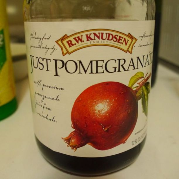 Pomegranate juice. This brand is way cheaper than the well-marketed national brand, and is still 100% pomegranate juice.