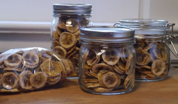 Have a banana chip, please! (I will be storing any I don't eat soon in plastic bags inside the jars, but they are so much prettier this way for now.)