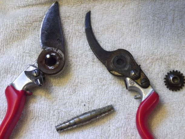 When you disassemble your pruners, do it on a towel or something that will contain the mess and also make it easy to find all the parts later.