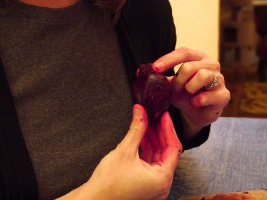 This little beet was shaped like a heart! Also - check out those pink fingers. I made my friends do all of the peeling and slicing because I had an interview the next day, and beets can stain for a day or so. For that reason, wear dark colors or an apron.