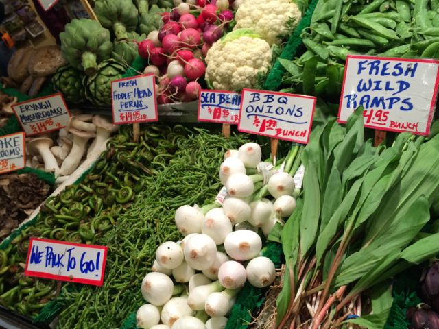 Spring veggies on display at Pike Place Market.