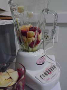 I realized that I needed to blend the strawberries with the apples, or the apples wouldn't blend well.