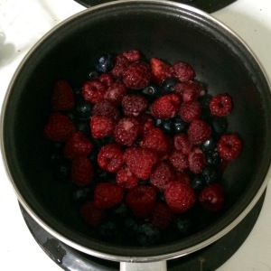 Blueberries and raspberries cooked over medium heat, adding a little sugar if needed, basically until everything melts.