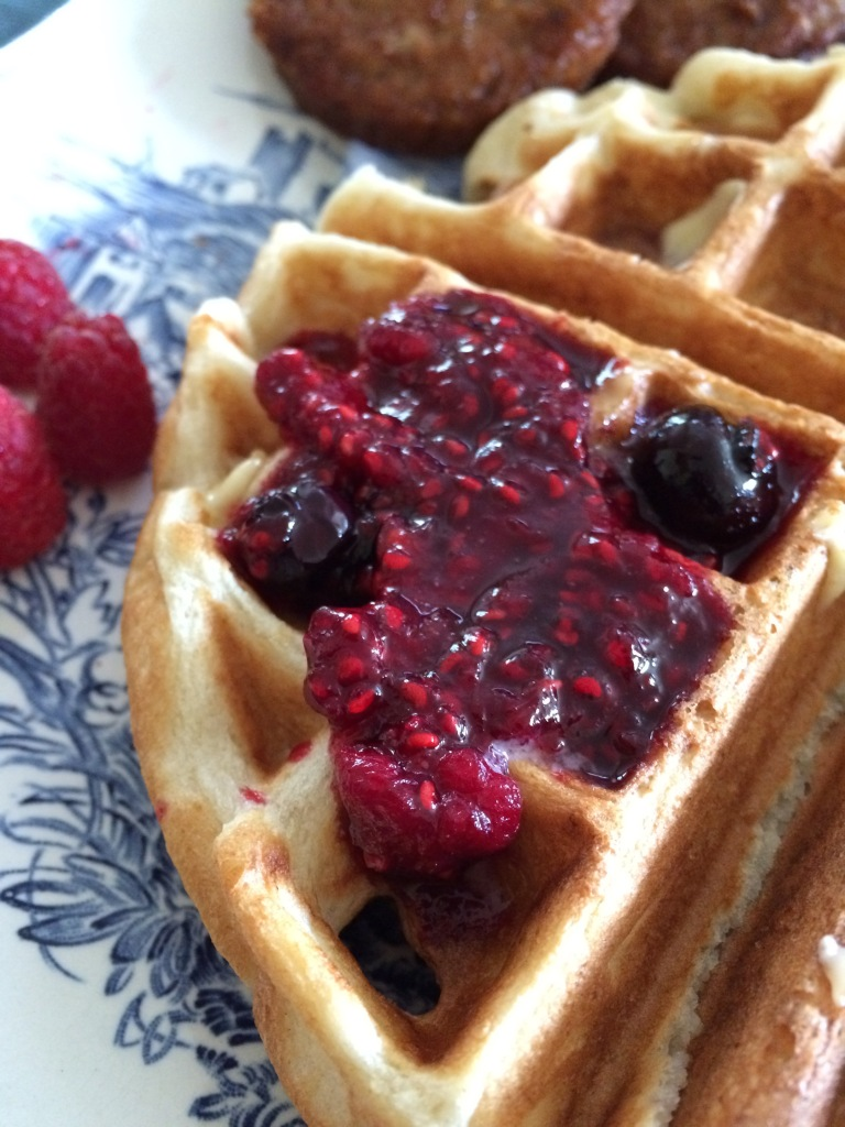 Raspberry-blueberry compote on waffles... an a-ok way to start a Sunday.